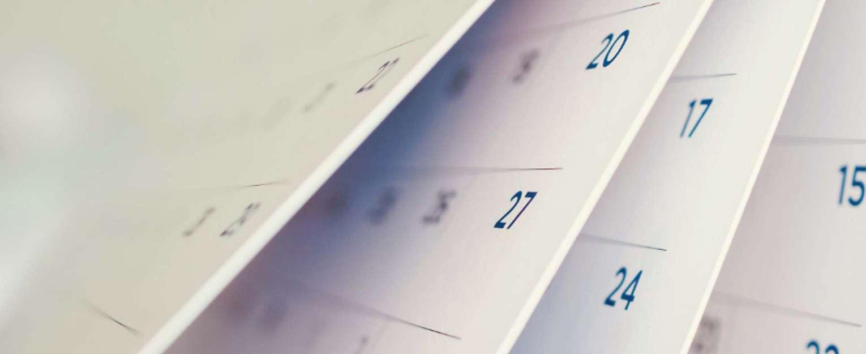 Closeup of calendar pages.