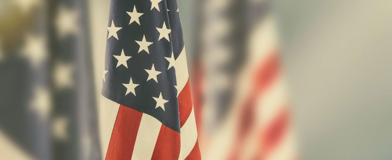 Close up of the American flag.