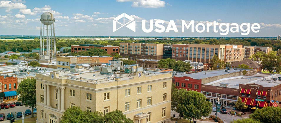 Aerial view of USA Mortgage building.
