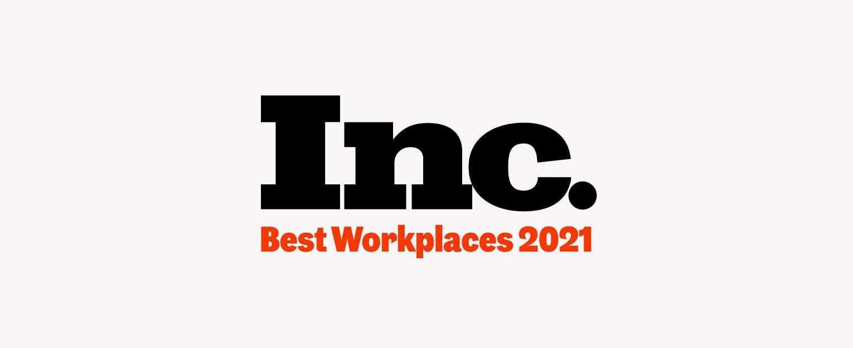 Inc. Best Workplaces 2021 logo.