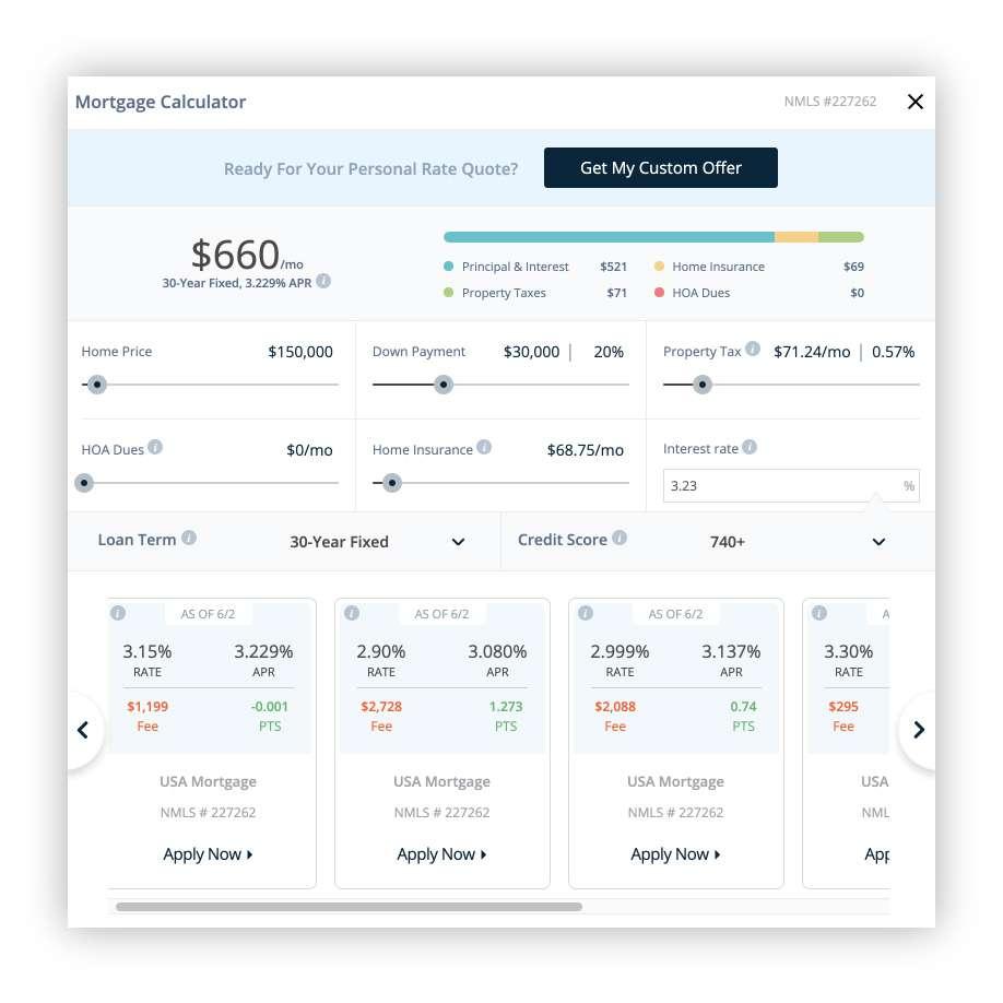 Screenshot of the USA Mortgage calculator.