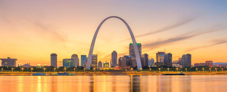 The skyline of St. Louis, Missouri.