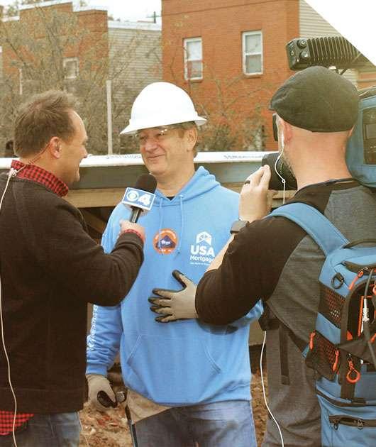 Doug Schukar being interviews by a local tv network.