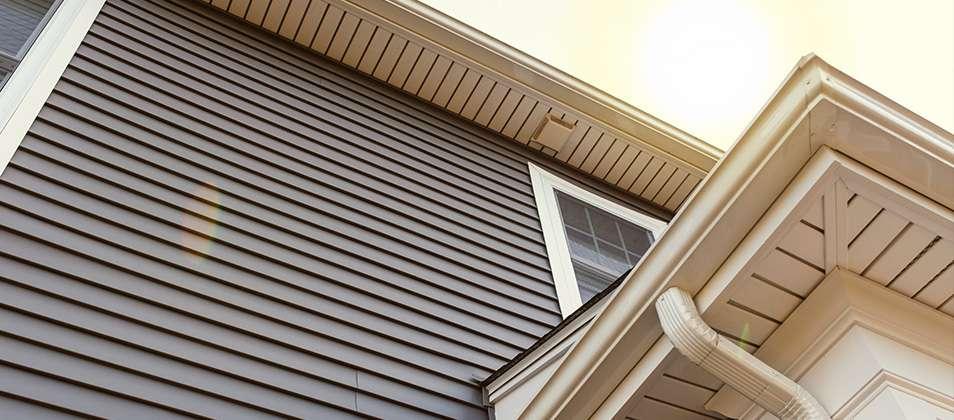 Close up view of home siding.